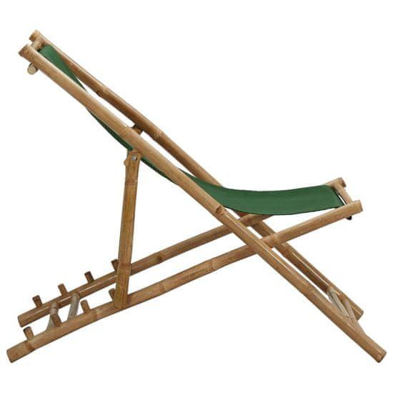 shumee Ležalnik iz bambusa in zelenega platna