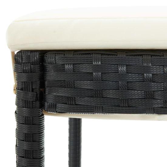 shumee Vrtna barska garnitura 5-delna z blazinami poli ratan črna