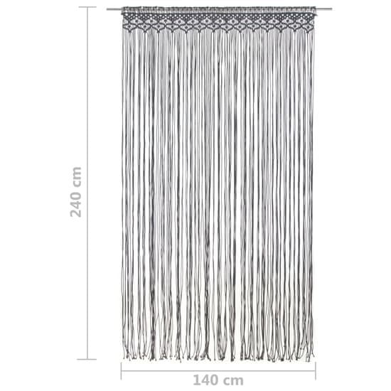 shumee antracitszürke makramé pamutfüggöny 140 x 240 cm