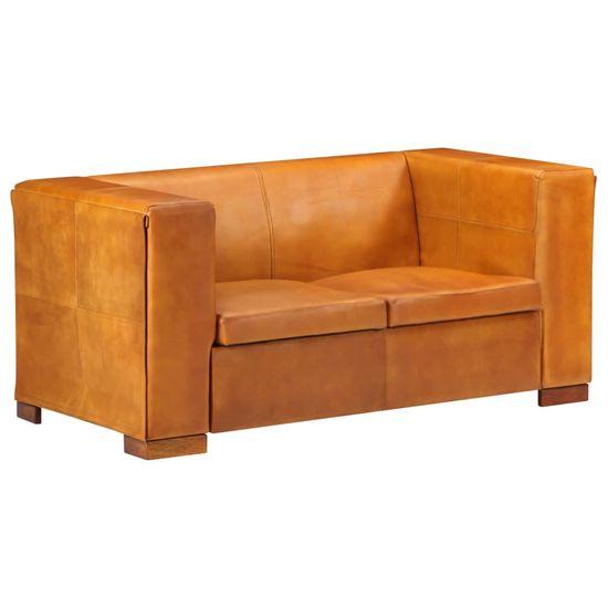 shumee 2-sedežni kavč Svetlo rjava naravna usnja