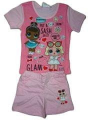 L.O.L. Surprise! Dívčí růžový letní set s tričkem a kraťasy s panenkou L.O.L. Surprise., 104