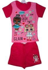 L.O.L. Surprise! Dívčí růžovočervený letní set s tričkem a kraťasy s panenkou L.O.L. Surprise., 98