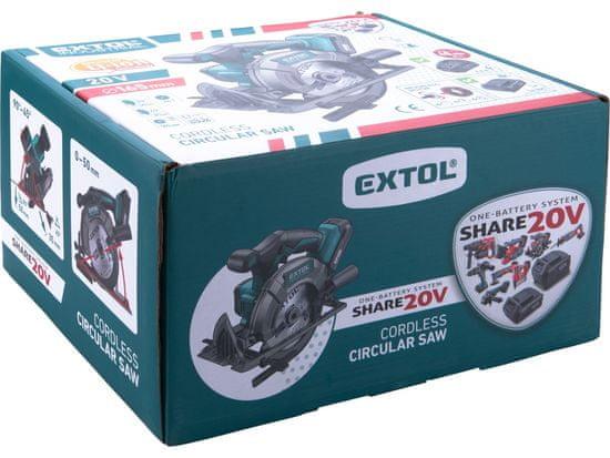 Extol Industrial Pila kotoučová aku SHARE20V, 165mm, BRUSHLESS, 20V Li-ion, 2000mAh