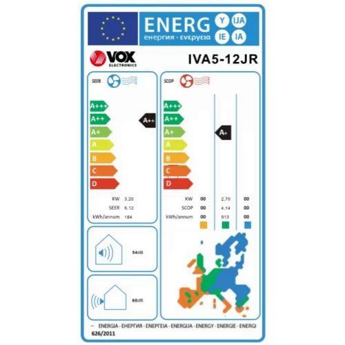 VOX electronics IVA5-12JR klimatska naprava, z Wi-Fi vmesnikom, z montažo