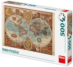 Dino zemljevid sveta iz l. 1626 sestavljanka, 500 delov