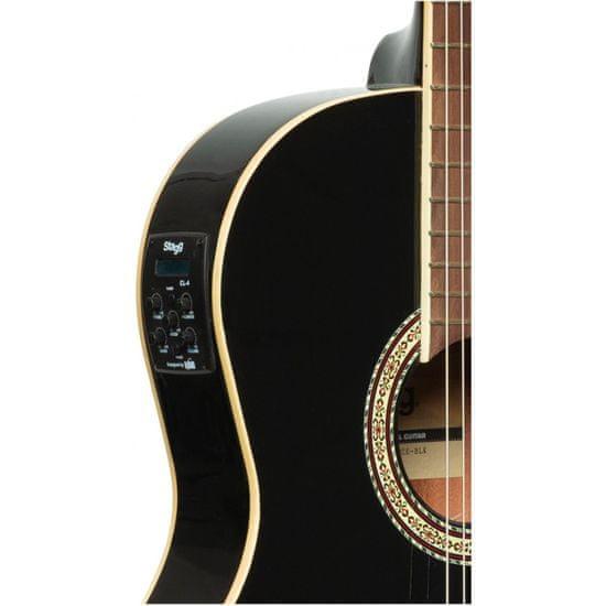 Stagg SCL60 TCE-BLK, elektroakustická klasická kytara 4/4, černá