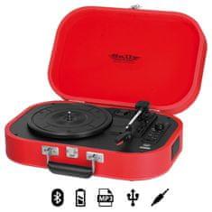 Trevi TT 1020 Sally prenosni gramofon, Bluetooth, rdeč