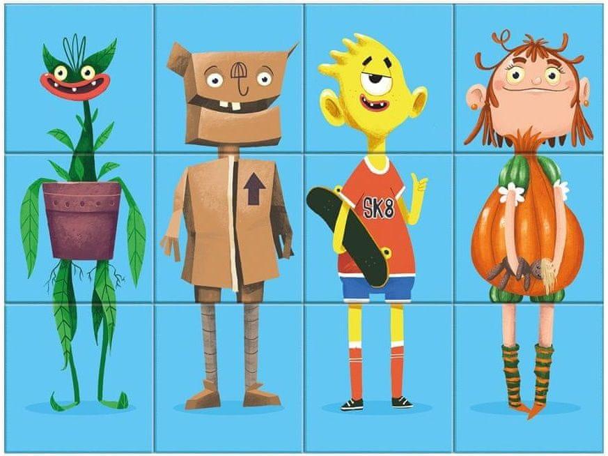 Dino Příšerky dřevěné kostky 12 ks