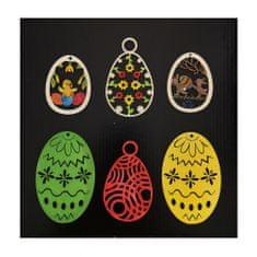 AMADEA Sada dřevěných velikonočních ozdob - barevná vajíčka