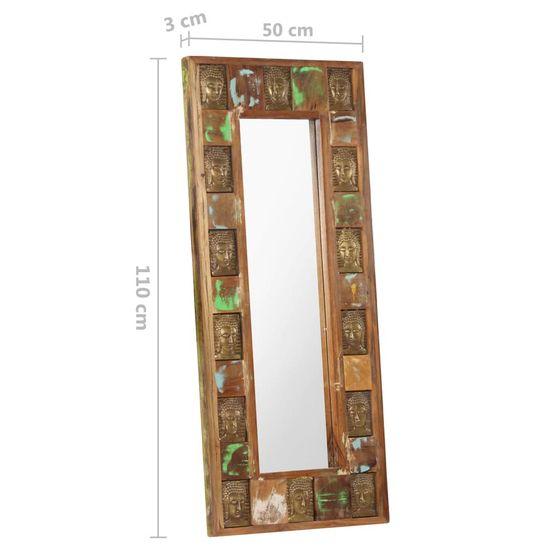 shumee Ogledalo s sliko Bude 50x110 cm Masivni obnovljeni les