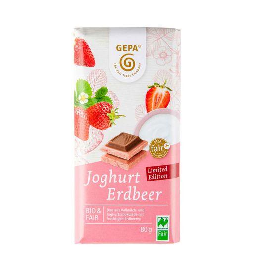 Gepa Bio bílá čokoláda s jahodami a mléčnou čokoládou 80g