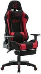 BHM Germany Herní křeslo Turbo LED, textil, černá / červená