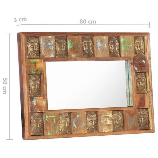 shumee Ogledalo s sliko Bude 80x50 cm Masivni obnovljeni les