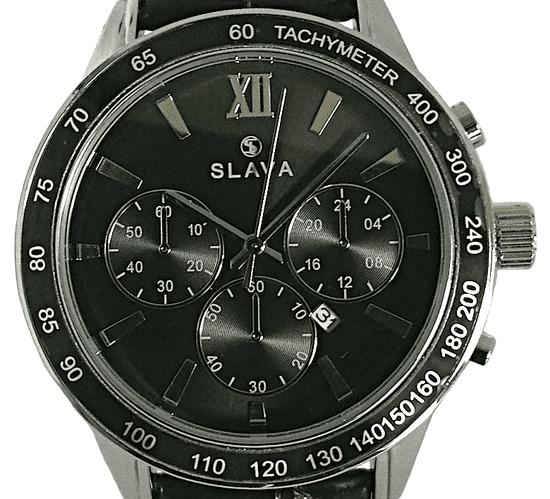 Slava Time Pánské hodinky SLAVA s černým ciferníkem SL 10066 Barva: černá, Velikost: UNI