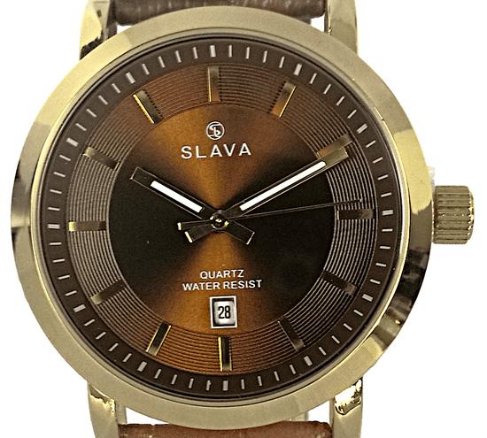 Slava Time Pánské zlaté elegantní hodinky SLAVA prošívaný kontrastní řemínek Barva: hnědá, Velikost: UNI