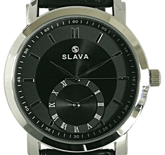 Slava Time Pánské černé hodinky SLAVA s dvěma ciferníky Barva: černá, Velikost: UNI