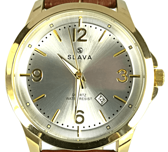 Slava Time Pánské zlato-hnědé elegantní hodinky SLAVA se stříbrným ciferníkem Barva: hnědá, Velikost: UNI