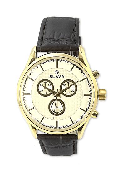 Slava Time Pánské elegantní hodinky SLAVA se zlatými prvky Barva: hnědá, Velikost: UNI