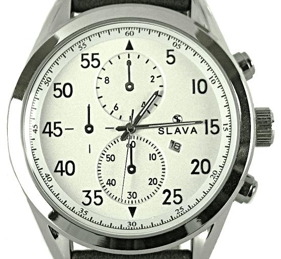 Slava Time Pánské masivní hodinky SLAVA ciferník 50 mm s bílým ciferníkem Barva: černá, Velikost: UNI