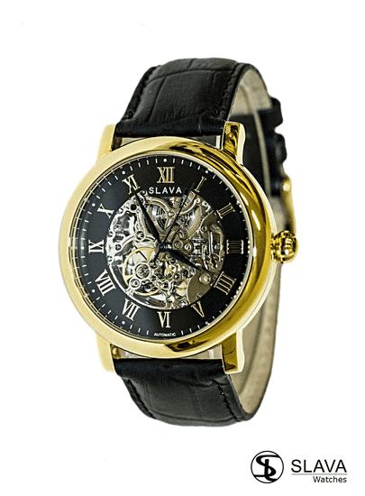Slava Time Pánské automatické hodinky s viditelným strojkem SLAVA Barva: zlatá, Velikost: UNI