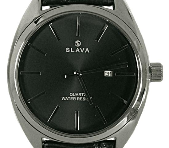 Slava Time Pánské černo-stříbrné elegantní hodinky SLAVA s černým ciferníkem Barva: černá, Velikost: UNI