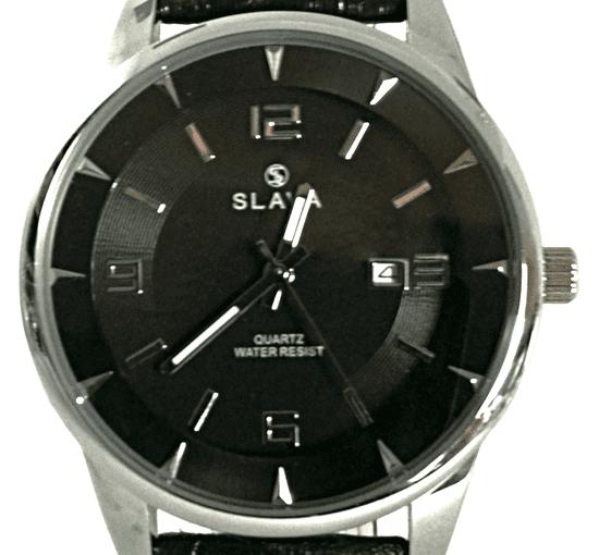 Slava Time Pánské velké hodinky SLAVA průměr pouzdra 45 mm a černým ciferníkem Barva: černá, Velikost: UNI