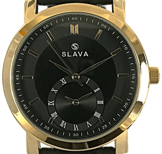 Slava Time Pánské zlato-černé hodinky SLAVA s dvěma ciferníky Barva: černá, Velikost: UNI