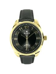Slava Time Pánské elegantní hodinky SLAVA s výraznými číslicemi černo-zlaté Barva: černá, Velikost: UNI