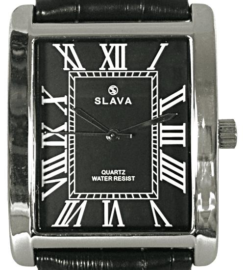 Slava Time Pánské černo-stříbrné elegantní hodinky SLAVA obdélníkové pouzdro Barva: černá, Velikost: UNI