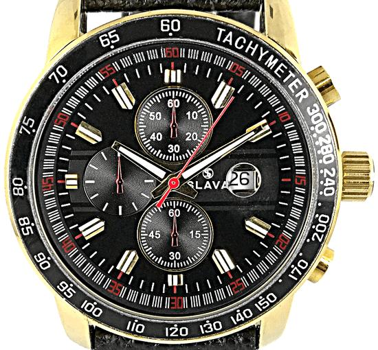 Slava Time Pánské černé hodinky SLAVA s červenými detaily Barva: černá, Velikost: UNI