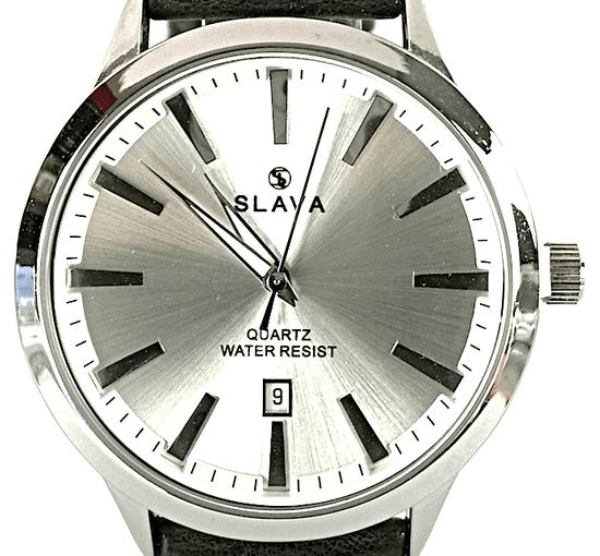 Slava Time Pánské černé jednoduché a elegantní hodinky SLAVA se stříbrným ciferníkem Barva: černá, Velikost: UNI