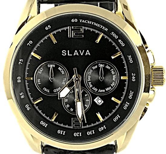 Slava Time Pánské černé elegantní hodinky SLAVA SL 10028 Barva: černá, Velikost: UNI