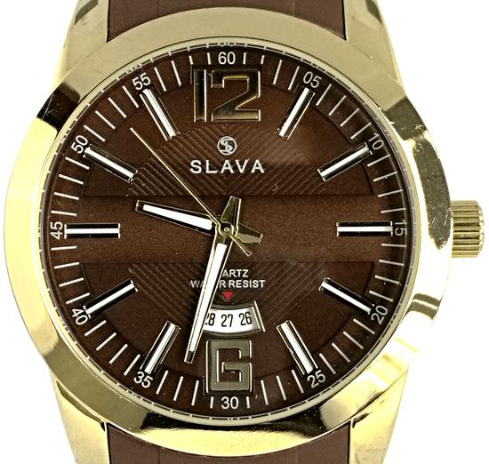 Slava Time Pánské hnědo-zlaté hodinky SLAVA se silikonovým řemínkem Barva: hnědá, Velikost: UNI