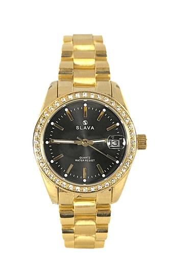 Slava Time Dámské zlaté hodinky SLAVA s lupou nad datem Barva: zlatá, Velikost: UNI