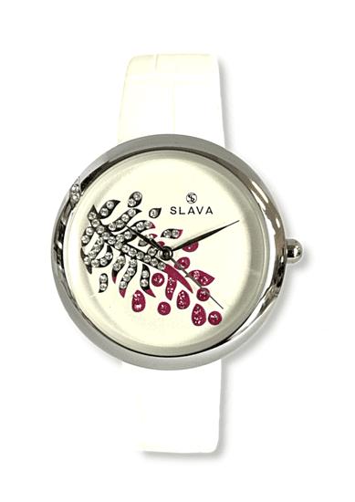 Slava Time Dámské elegantní hodinky s kamínky v ciferníku SLAVA Barva: bílá, Velikost: UNI