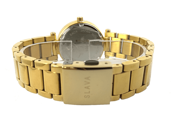 Slava Time Dámské černo-zlaté hodinky SLAVA vykládané kamínky Swarovski Barva: zlatá, Velikost: UNI