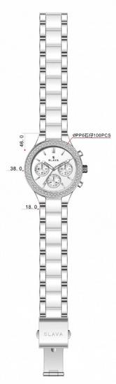 Slava Time Dámské stříbrno-bílé hodinky SLAVA s kamínky Barva: bílá, Velikost: UNI