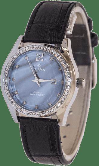 Slava Time Dámské elegantní hodinky s modrým ciferníkem a kamínky SLAVA Barva: modrá, Velikost: UNI