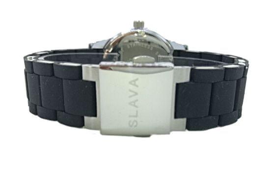 Slava Time Dámské černé hodinky SLAVA s římskými číslicemi z kamínků Barva: černá, Velikost: UNI