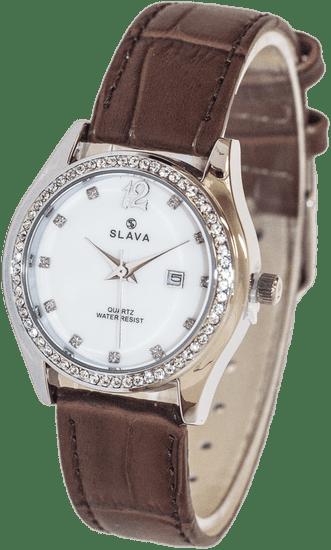 Slava Time Dámské elegantní hodinky s kamínky kolem ciferníku SLAVA Barva: hnědá, Velikost: UNI