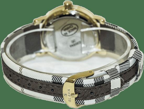 Slava Time Dámské elegantní hodinky ve stylu Burberry SLAVA Barva: hnědá, Velikost: UNI