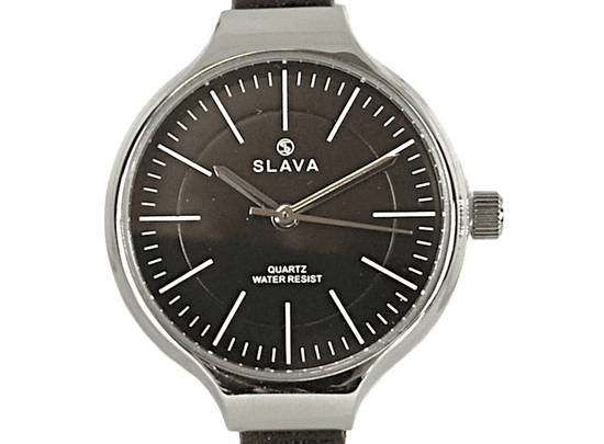 Slava Time Dámské elegantní hodinky s úzkým páskem SLAVA v černé barvě Barva: černá, Velikost: UNI