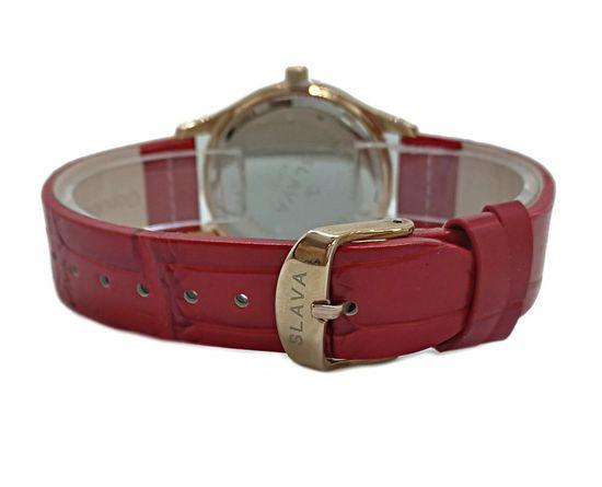 Slava Time Dámské červené hodinky SLAVA s kamínky Barva: červená, Velikost: UNI