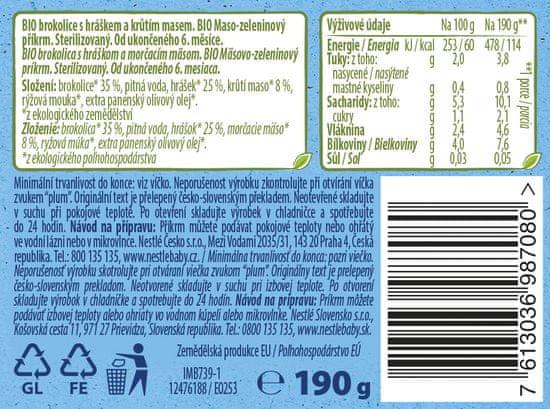 Nestlé NaturNes BIO Morčacie mäso s brokolicou a hráškom 6x 190g