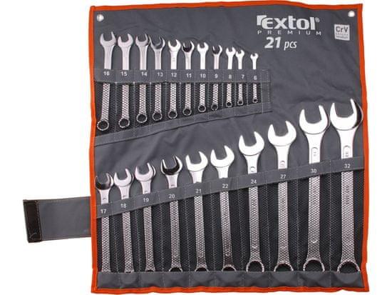 Extol Premium Kľúče očko-vidlicové 6-32mm, 21-dielna sada, nylonové puzdro