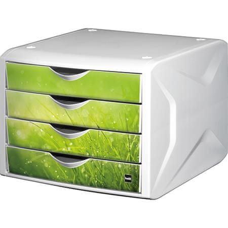 """Helit Zásuvkový box """"Chameleon"""", 4 zásuvky, bílo-zelená, plast"""