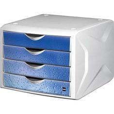 "Helit Zásuvkový box ""Chameleon"", 4 zásuvky, bílo-modrá, plast"