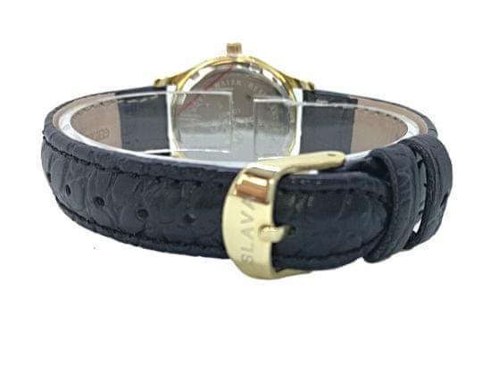 Slava Time Dámské hodinky SLAVA s kamínky kolem ciferníku Barva: černá, Velikost: UNI