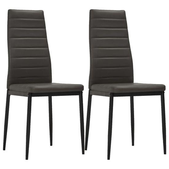 shumee Jedilni stoli 2 kosa sivo umetno usnje