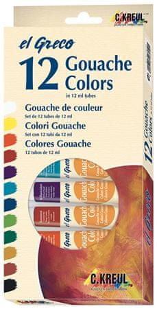 KREUL  Sada Kvašové barvy EL GRECO, v tubách, 12 barev